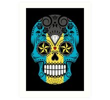 Sugar Skull with Roses and Flag of Bahamas Art Print