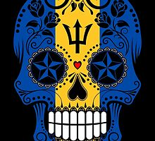 Sugar Skull with Roses and Flag of Barbados by Jeff Bartels