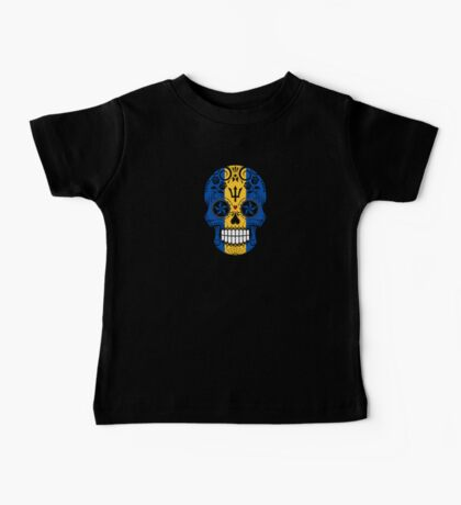 Sugar Skull with Roses and Flag of Barbados Baby Tee