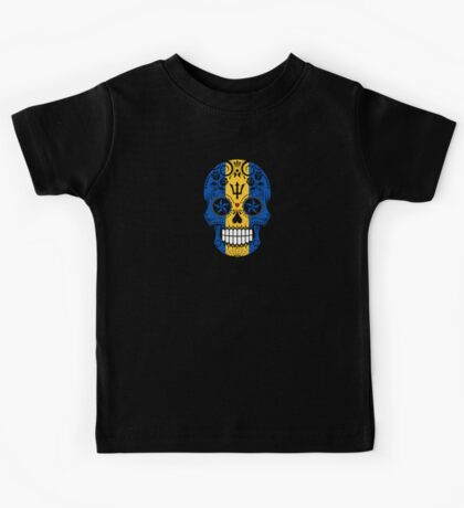 Sugar Skull with Roses and Flag of Barbados Kids Tee