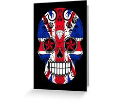 Sugar Skull with Roses and Union Jack Greeting Card