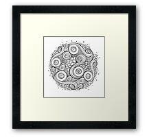White and black doodle mandala  Framed Print