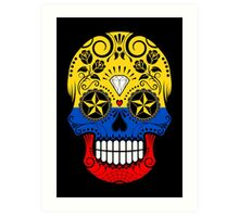 Sugar Skull with Roses and Flag of Colombia Art Print