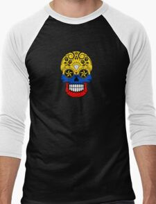 Sugar Skull with Roses and Flag of Colombia Men's Baseball ¾ T-Shirt