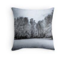 Moody snow trees Throw Pillow