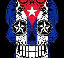 Sugar Skull with Roses and Flag of Cuba by Jeff Bartels