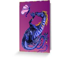 Blue Dragon and Butterfly Greeting Card