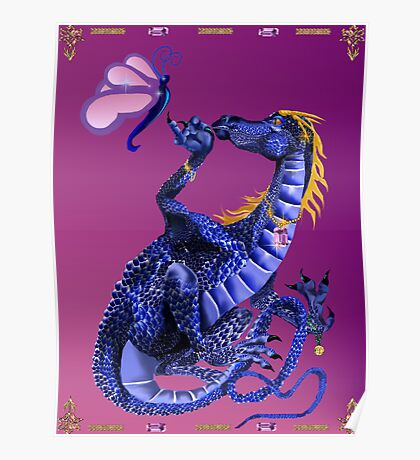 Blue Dragon and Butterfly Poster