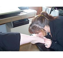 KISSING  DAUGHTERS FOOT FOR MY LIPS TATTOO  Photographic Print