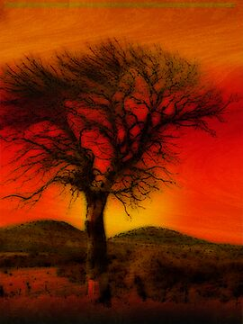 Oil Pastel Tree in Sunset (26,690) by redhawk