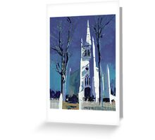 Gothic Colonial Church in New England Greeting Card