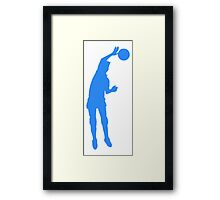Blue Volleyball Spike Silhouette Framed Print