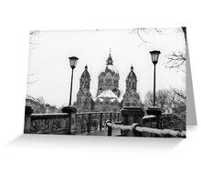 Munich winter scene black & white version Greeting Card