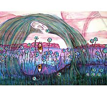 Girl in a Field of Blue Flowers- Drawing Photographic Print