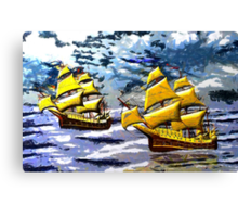 Ships of the Line Heading for Battle - all products bar duvet Canvas Print