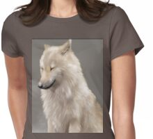 Happy Wolf in the Snow Womens Fitted T-Shirt