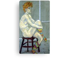 Woman in coloured socks Canvas Print