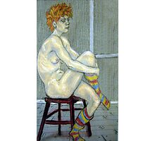 Woman in coloured socks Photographic Print
