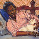 Woman with cat by Fiona O'Beirne