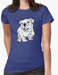 Happy Bulldog Puppy  Womens Fitted T-Shirt