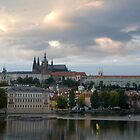 Prauge Castle Over Vltava River by Alan LeClair