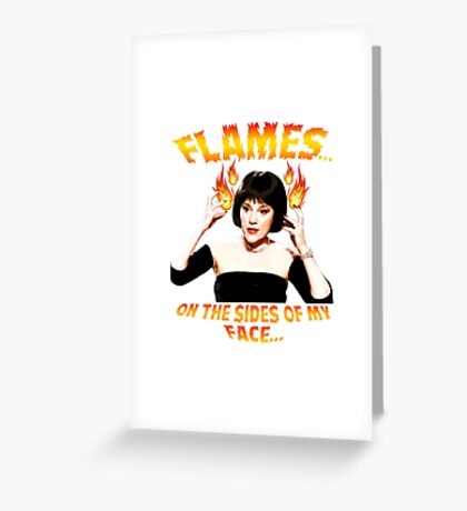 Clue Mrs White Flames Greeting Card