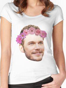 Chris Pratt Flower Crown Women's Fitted Scoop T-Shirt