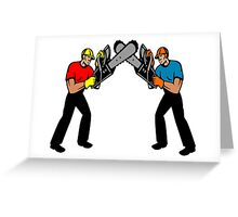 Chainsaw Battle Greeting Card