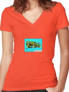 Shoot out at the Drive thru' by Tim Constable Women's Fitted V-Neck T-Shirt