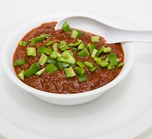 Bowl of Chili with Green Peppers by dbvirago