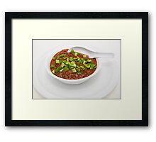 Bowl of Chili with Green Peppers Framed Print