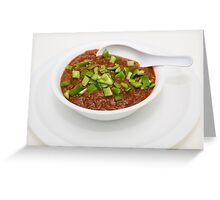 Bowl of Chili with Green Peppers Greeting Card