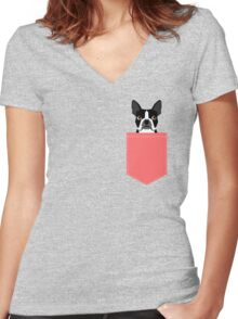 Kennedy - Boston Terrier customizable dog gifts for pet owners and Boston Terrier gifts for dog lovers Women's Fitted V-Neck T-Shirt
