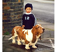 Small Child; Big Dog Photographic Print