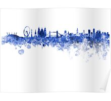 London skyline in blue watercolor on white background Poster