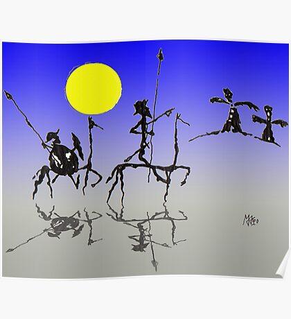 Don Quijote y Sancho Panza - Digital color Poster