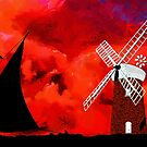 Horsey Drainage Mill & Wherry, Norfolk Broads by Dennis Melling