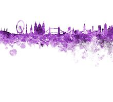 London skyline in purple watercolor on white background by paulrommer