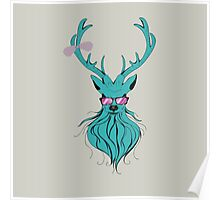 Deer hipster in glasses 2 Poster