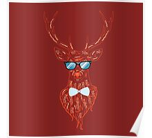 Deer hipster in glasses 4 Poster