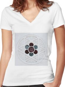 Ode to the Creator (wide) Women's Fitted V-Neck T-Shirt