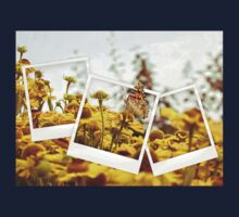 Retro photo collage of yellow flowers and butterfly T-Shirt