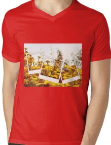 Retro photo collage of yellow flowers and butterfly Mens V-Neck T-Shirt