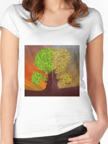 Abstract digital illustration of fantasy tree in autumn and summer season Women's Fitted Scoop T-Shirt