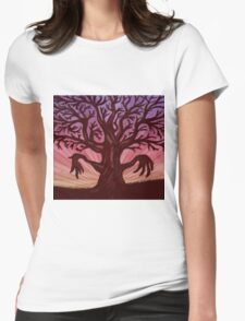 Abstract digital illustration of big leafless fantasy tree Womens Fitted T-Shirt