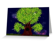 Creepy tree with green leaves at night Greeting Card