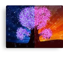 Fantasy tree at night and day time Canvas Print