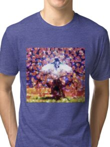Fantasy oak tree and blue owl Tri-blend T-Shirt