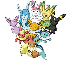 Eeveelution pile -white- by CoyoDesign