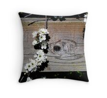 May blossom over the fence Throw Pillow